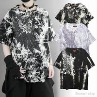 【Deorart】ムラ染め タイダイ オーバーサイズ プリント Tシャツ [one wing] 【DRT2566】