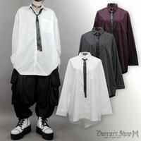 【Deorart】ストライプ/無地 リボンタイ付き ロングシャツ(DRT-2474)