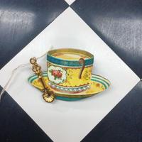 【まよなかのこいびと展】Masquerade/ティーカップブローチ(ワンポイント花柄)/teacup-onepoint