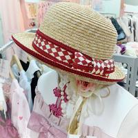 【まよなかのこいびと展】Masquerade/赤ダイヤリボンカンカン帽/Red ribbon
