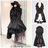 【h.NAOTO】Blood Dahlia Black vest/CNF24-J170 BK-RD/M