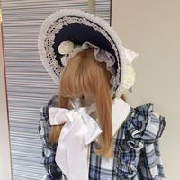【Triple*fortune】  麦わらハーフボンネット/紺