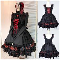 【h.NAOTO】Bloody Rose Bird cage dress/CNF29-O271 BK-RD/M