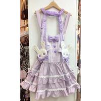 【MAXICIMAM】ブランラパンのうさちゃんのスウィート☆サロペットスカート(うさちゃんガーター付き)(大きめサイズ)/LV1029