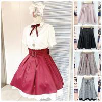 【Amavel】フロント編み下げチェック&無地スカート/ボルドー・チェック・ピンク・レッド、・ブラック