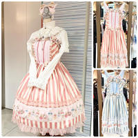 【CHOCO CHIP COOKIE】ストライプ香水瓶ジャンパースカート/ピンク・水色