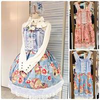 【CHOCO CHIP COOKIE】桜と手毬のはしごレースジャンパースカート/ピンク・水色