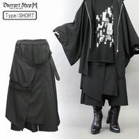 【Deorart】ST/PLファブリック地 レイヤード・フラップ付 ハカマ・袴風 ロングワイドパンツ(DRT-2500)