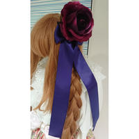 【ゴシックホリック】薔薇リボンクリップ(2点セット)/紫・青/66