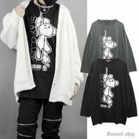 【Deorart】オーバーサイズ 長袖 プリントTシャツ [ ぶらさがりnear bear ](DRT-2589)