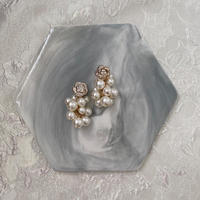handmade  flower perl earring -639-