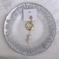 handmade  gold parl earring -601-