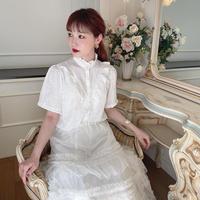 vintage frill blouse -FA384-