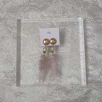 handmade feather earring -651-