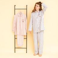 「ねこにストライプ」中空糸ネル ロングスリーブシャツセットアップ  PJR101-14100