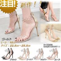 新作 デザイン サンダル パーティー パンプス オープントゥ 結婚式 ドレス キャバ嬢 サイズ豊富 ゴールド 2206