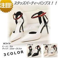 新作 リベット スタッズ パーティー パンプス ピンヒール 結婚式 ドレス 歩きやすい ホワイト 白