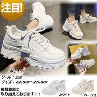 新作 厚底 ダッドスニーカー ダッドシューズ 韓国ファッション 歩きやすい 大きいサイズ 滑り止め ホワイト 1825