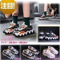 【大人気】新作 ダッドスニーカー マフィンシューズ スポーツ カジュアル 韓国ファッション 小さいサイズ ブラック 2038
