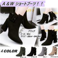 新作 秋冬 バックル スエード ショートブーツ ブーツ 歩きやすい 大きいサイズ 太ヒール 通勤 結婚式 ブラック 1676
