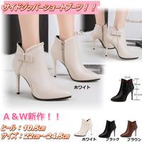 新作 秋冬 ショート ブーツ サイドジッパー ハイヒール 小さいサイズ 歩きやすい 痛くない キャバ嬢 ホワイト 1720