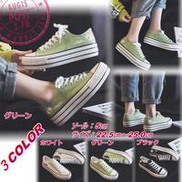 新作 厚底キャンバススニーカー 厚底シューズ 韓国ファッション 通学 小さいサイズ サイズ豊富 グリーン 2025