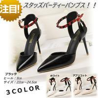 新作 リベット スタッズ パーティー パンプス ピンヒール 結婚式 ドレス 歩きやすい ブラック 黒
