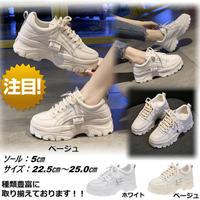 新作 厚底 ダッドスニーカー ダッドシューズ 韓国ファッション 歩きやすい 大きいサイズ 滑り止め ベージュ 1826