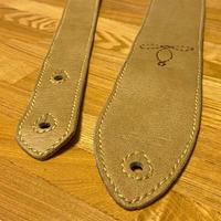 ステッチ装飾 レザーギターストラップ/手縫い/一点もの