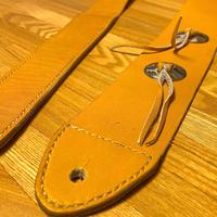 オレンジイエロー レザーギターストラップ/手縫い/一点もの