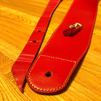 レッドレザー ギターストラップ/手縫い/一点もの