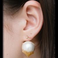 Champagne drop pierced earrings