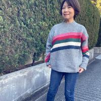 カラフルカラー入りセーター(グレー)