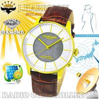 J.HARRISON  カボジョン1石天然ダイヤモンド付きソーラー電波紳士用腕時計JH-1895MGW