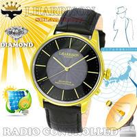 J.HARRISON カボジョン1石天然ダイヤモンド付きソーラー電波紳士用腕時計JH-1895MGB