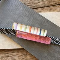 手織り麻の帯留め 虹の橋