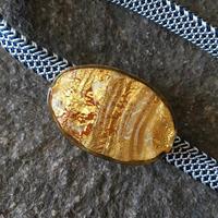 ヴェネチアンビーズの帯留め  本金箔  楕円