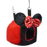 🎀耳付きハウス 赤黒 水玉リボン🎀(Sサイズ)