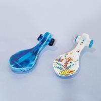 青釉・ペルシア色絵 琵琶形箸置  2色