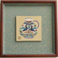 ペルシア色絵陶額「長良川」