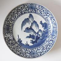 【季節のうつわ】古伊万里染付柳に鳥大皿  Imari Blue and White Large Dish with Design of Bird under Willow 17th C