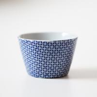 【千代久】印判七宝繋文小猪口 Inban Blue and White Printed Small Cup 19th C