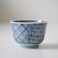 【千代久】古伊万里染付幾何学文猪口(その6)Imari Blue and White Cup with Geometric Patterns 19th C