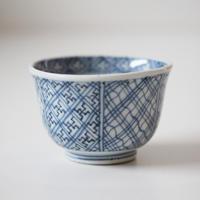 【千代久】古伊万里染付幾何学文猪口(その3)Imari Blue and White Cup with Geometric Patterns 19th C