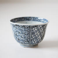 【千代久】古伊万里染付幾何学文猪口(その1)Imari Blue and White Cup with Geometric Patterns 19th C