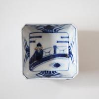 【季節のうつわ】九谷染付周茂叔図隅入猪口(その1)6.6cm Kutani Blue and White Small Square Cup 19th-20th C