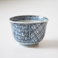 【千代久】古伊万里染付幾何学文猪口(その9)Imari Blue and White Cup with Geometric Patterns 19th C