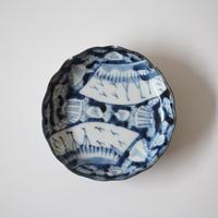 【季節のうつわ】古伊万里染付扇面貝文輪花小皿 10.5cm Imari Blue and White Small Dish with Fans and Clams Design 18th-19th C