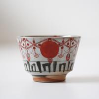 【千代久】色絵赤玉瓔珞文猪口(その3)Polychrome Cup with Akadama Yoraku Pattern 19th C