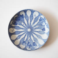 【季節のうつわ】印判瓢箪に桐文小皿(その2)11.8cm Inban Blue and White Small Dish with Gourds and Paulownia Design 20th C